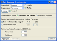 Screenshot.Dati diagonale di controvento